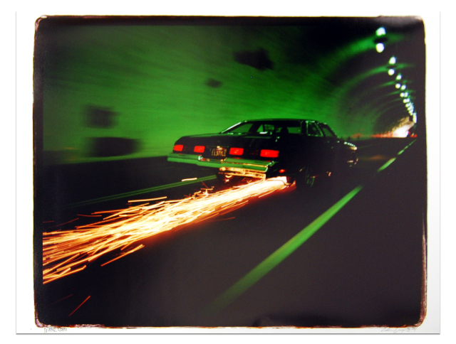 Estevan Oriol, 76 Caprice Scraping, 1997, archival silver gelatin print, 30 x 40 in (76.2 x 101.6 cm).  Courtesy of the gallery.