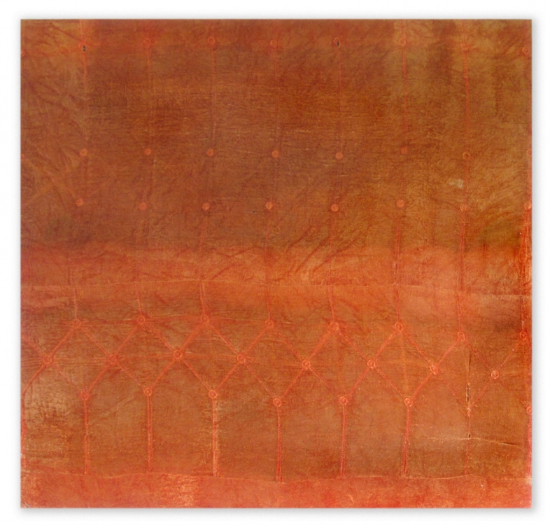"Zachary Royer Scholz, ""2697212 (orange velvet), 69″ x 72″ x 2″, 2012. image courtesy of Eli Ridgway Gallery"