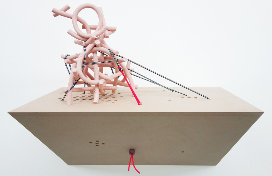 """Sean Talley, OSTWPV, 2013, Ceramic, MDF, Cord, Stoppers , 22"""" × 12"""" × 22"""". Courtesy of the gallery."""