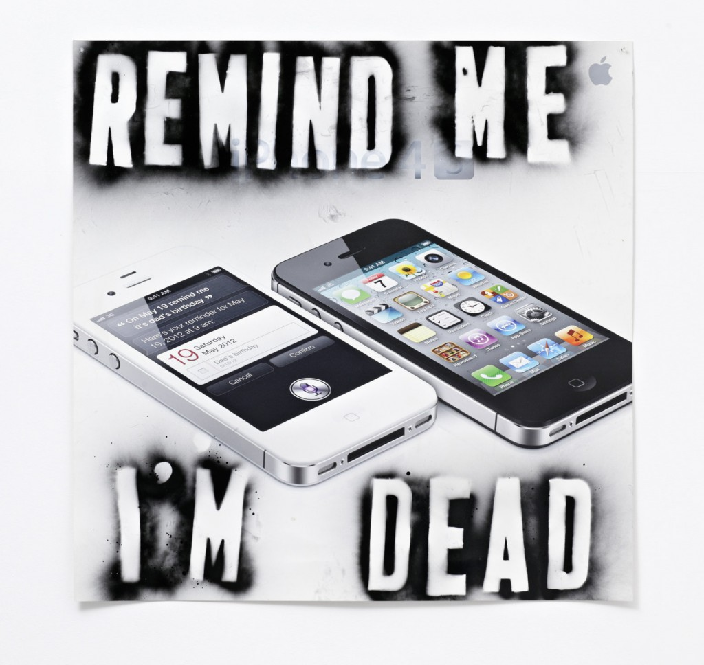 Remind Me I'm Dead, 2013. Painting - Acrylic paint on printed coroplast. Courtesy of Peres Projects.