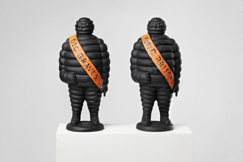 The Devils, 2013. Sculpture - Acrylic paint on Michelin promotional objects (plaster) Diptych - 2 sculptures. Courtesy of Peres Projects.
