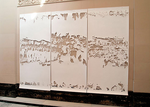 Mayumi Hamanaka, Grain of the Voice - Resonance of Crowds, paper. 2011. Courtesy of the gallery.