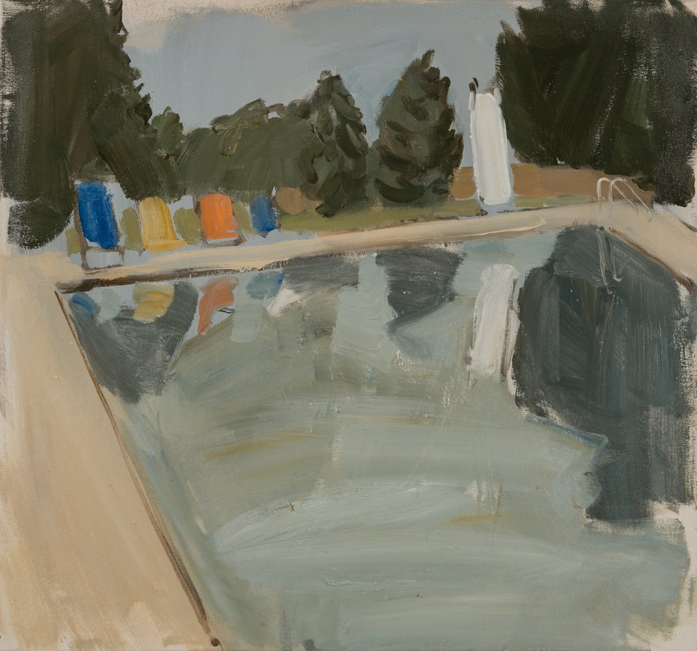 Gideon Rubin. Pool Reflection, 2013. Oil on canvas. 28 x 29 7/8 in.  Courtesy of the artist and Hosfelt Gallery.