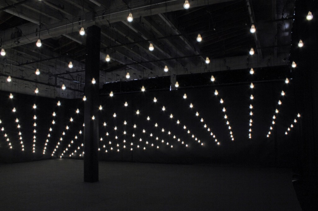 JIM CAMPBELL. Tilted Plane, 2011. 256 LED light bulbs and custom electronics. Variable dimensions. Courtesy of the artist and Hosfelt Gallery.