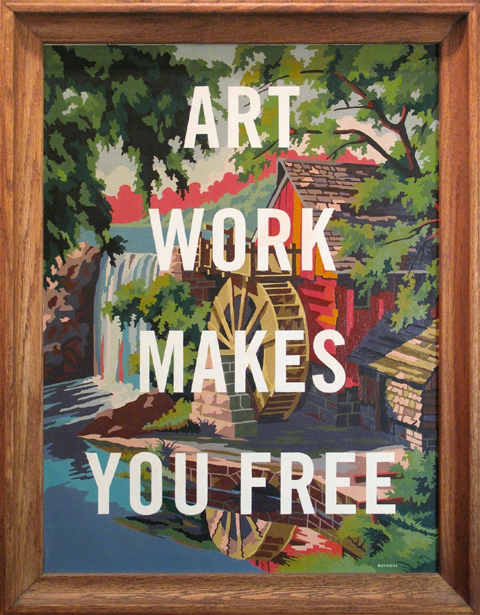 "Paul Mavrides ""Artwork Makes You Free"" Oil on found painting. 16"" x 20"" 2013. Image courtesy of Steven Wolf Fine Arts."