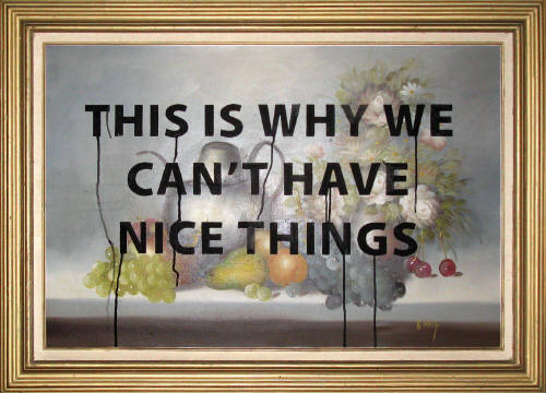 "Paul Mavrides ""This is Why We Can't Have Nice Things"" Oil on found painting. 31"" x 43"" 2004. Image courtesy of Steven Wolf Fine Arts."