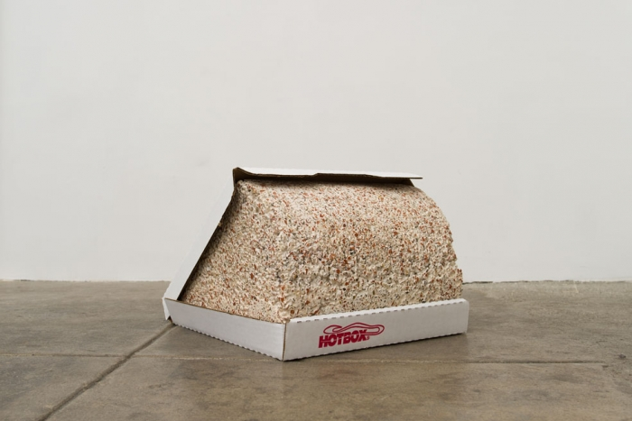 Cameron Crone, Quarter Open, 2012-2013, terrazzo and cardboard, 9.25 x 12.5 x 14 inches. Courtesy of Jancar Jones.