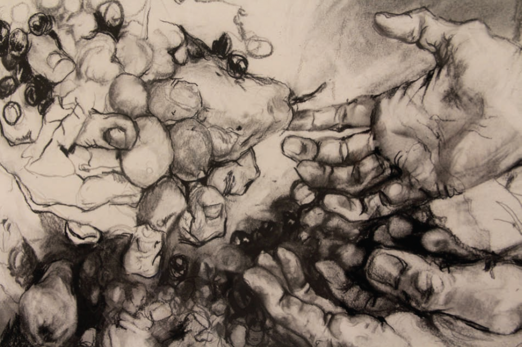 """Bacilli"", 2013. Charcoal and spit on paper. 40"" x 60"". Courtesy of the artist."
