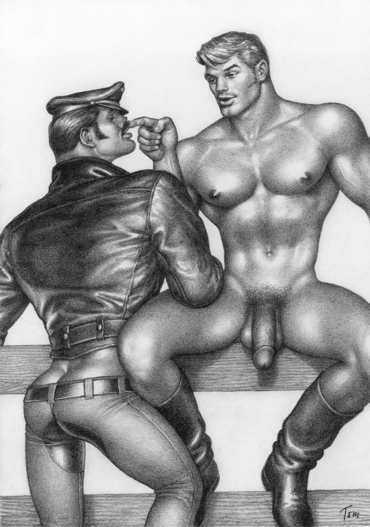 "Tom of Finland, (Touko Laaksonen, Finnish, 1920 – 1991) Untitled (No.1 from ""Cyclist and the Farm Boy"" series), 1973 Graphite on paper 11"" x 8"" Bob Mizer/AMG Collection, Tom of Finland Foundation Permanent Collection #73.10, © 1973 Tom of Finland Foundation"