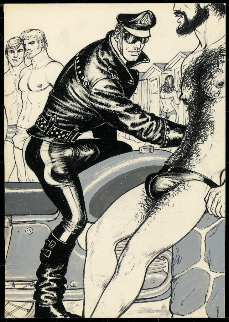 """Tom of Finland, (Touko Laaksonen, Finnish, 1920 – 1991) Untitled (From Beach Boy 1 story), 1971 Pen & ink, gouache on paper 8.25"""" x 5.75"""" COQ International Collection, Tom of Finland Foundation Permanent Collection #71.24, © 1971 Tom of Finland Foundation."""