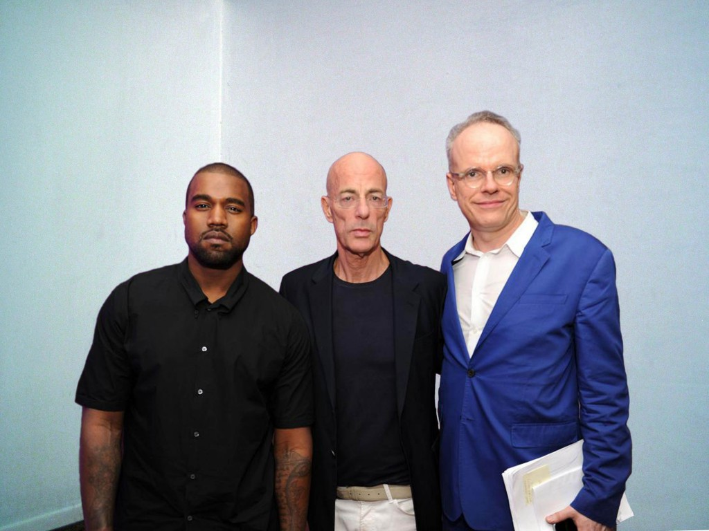 Kanye West, Jacques Herzog, and Hans-Ulrich Obrist. Courtesy of Water McBeer.