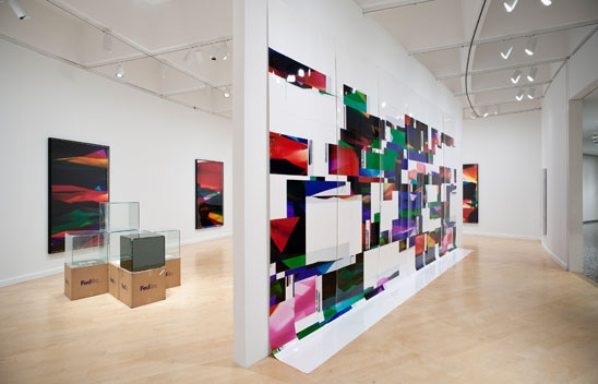 Walead Beshty, Installation view of Legibility on Color Backgrounds at the Hirshorn Museum and Sculpture Garden, Washington DC, 2009.