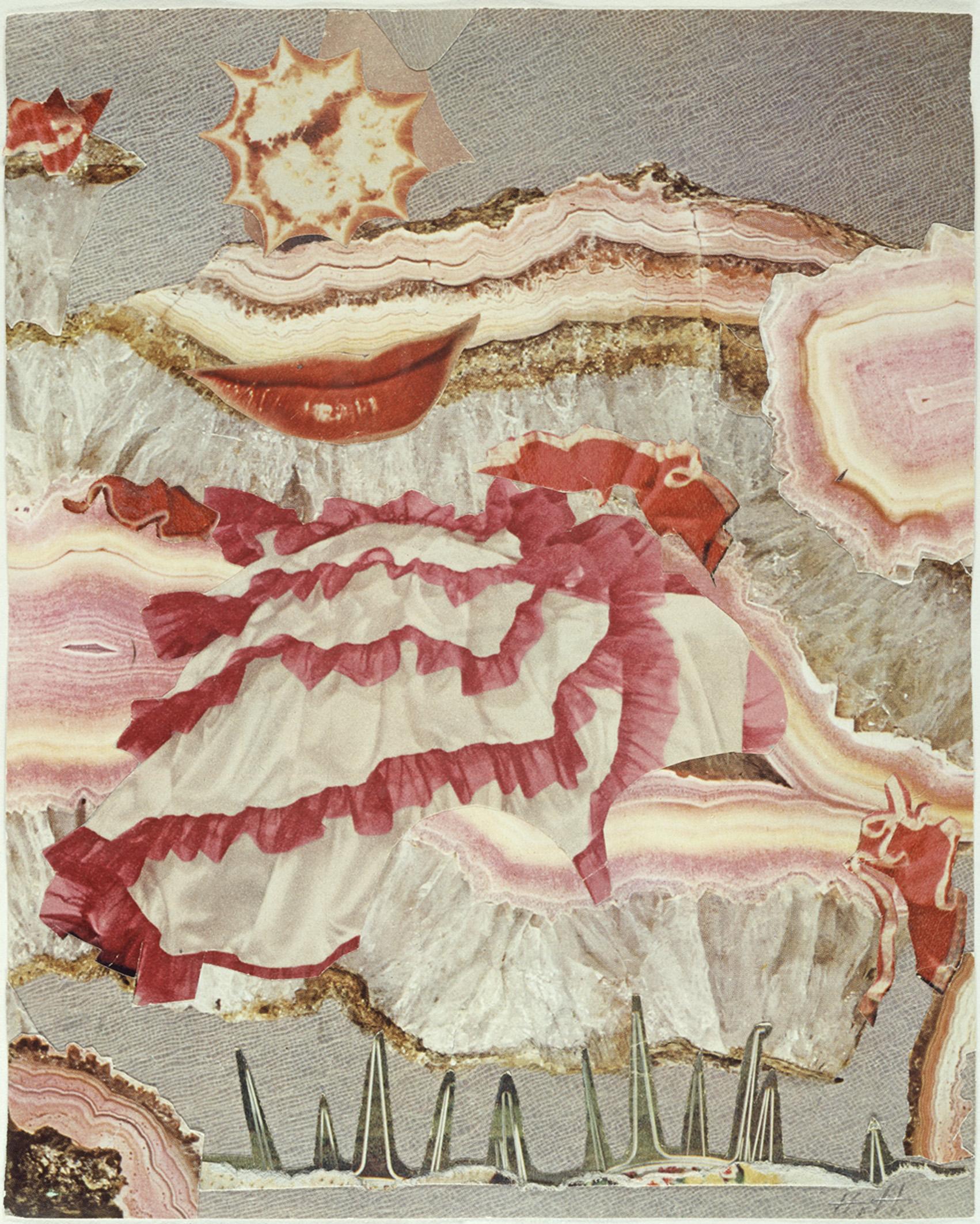 Um einen roten Mund ( Around a Red Mouth), c. 1967 Collage. 20.5 x 16.5 cm Collection of IFA, Stuttgart