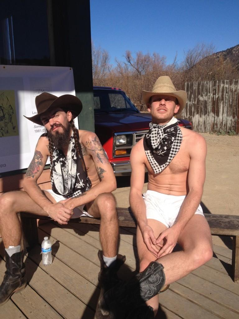 "Murphy Maxwell and Ryan Lawrence modeling Stewart Uoo's ""Love, Eternity, Peaceful, Sad-sorrow"", 2013"