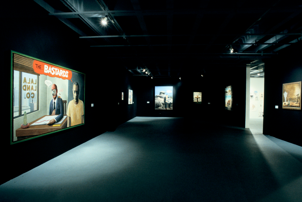 """Installation view of """"Helter Skelter: L.A. Art in the 1990's"""" at The Temporary Contemporary at MOCA, January 26 – April 26, 1992, photo by Paula Goldman, © The Museum of Contemporary Art, Los Angeles."""