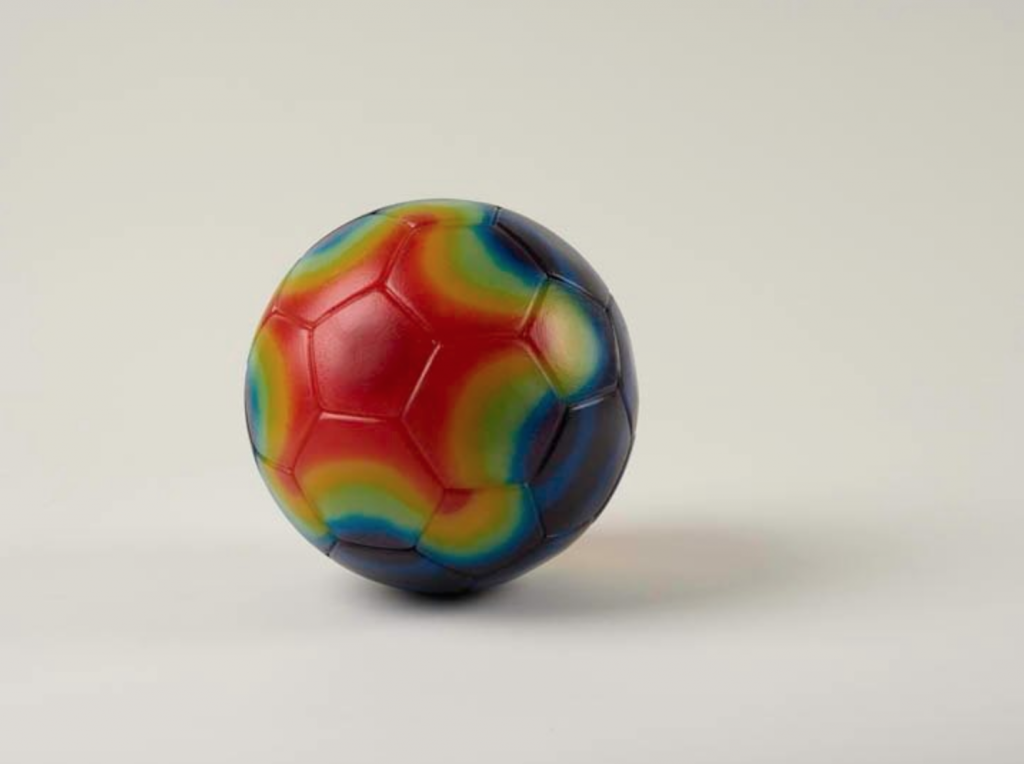 "Gay Outlaw, Ball, 2013 Pâte de verre 8"" diameter Courtesy of Gallery Paule Anglim."
