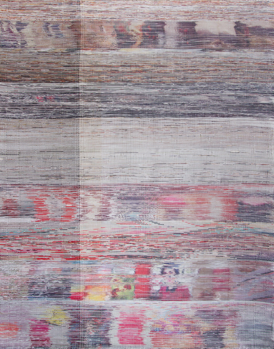 "Margo Wolowiec, ""Orange Red on White"", 2014 Hand Woven Polyester, Cotton, Dye Sublimation Ink 55″ x 70″, image Johansson Projects"