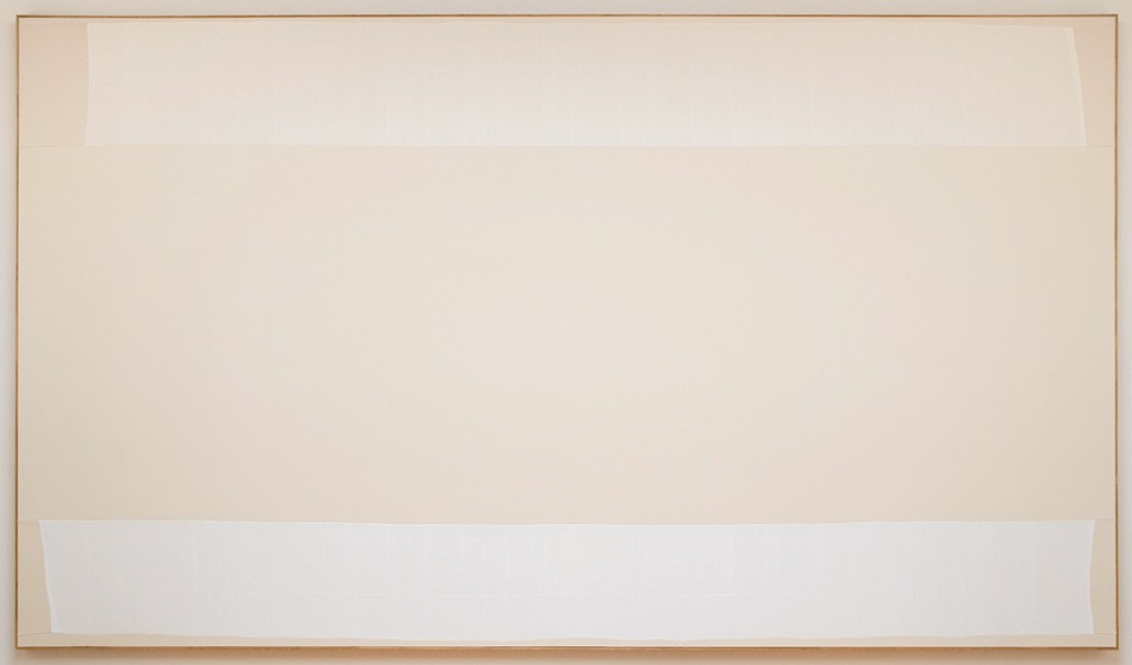 Ethan Cook, Untitled, 2014, Hand woven cotton canvas and canvas in artist's frame, 96 x 166 inches. Courtesy of American Contemporary.