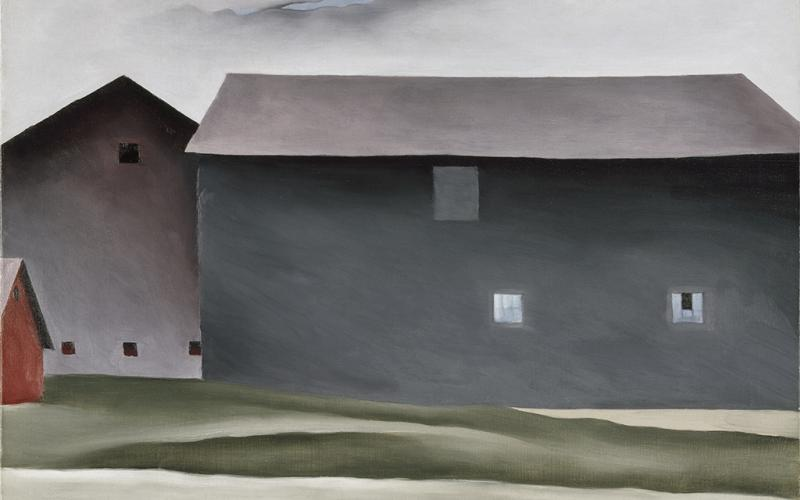 Georgia O'Keeffe, American (1887-1986), Lake George Barns, 1926. Oil on canvas. Collection Walker Art Center, Minneapolis. Gift of the T. B. Walker Foundation, 1954. © Georgia O'Keeffe Museum / Artists Rights Society (ARS), New York