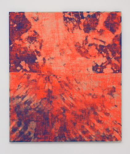 Evan Nesbit Porosity (Manic Panic), 2014 Acrylic and dye on burlap 79 x 68 in (200.66 x 172.72 cm). Courtesy of Roberts & Tilden.