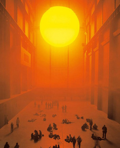 "Ólafur Elíasson, ""The Weather Project"" (2003), installation view, Turbine Hall at Tate Modern. Photo by Tate Photography."