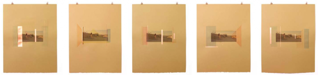 """""""Nonobjectivity Drew Me Forth,"""" mixed media, five works at 21""""x16"""" each, 2013. Courtesy the artist and Jancar Gallery, Los Angeles."""