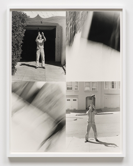 Lew Thomas 'THROWING-NIKOMAT' 1973/2014 4 gelatin silver prints, mounted and framed 27 x 21 inches overall; 68.58 x 53.34 cm overall 29 x 22.75 inches framed; 73.66 x 57.79 cm framed. Courtesy of Cherry and Martin.