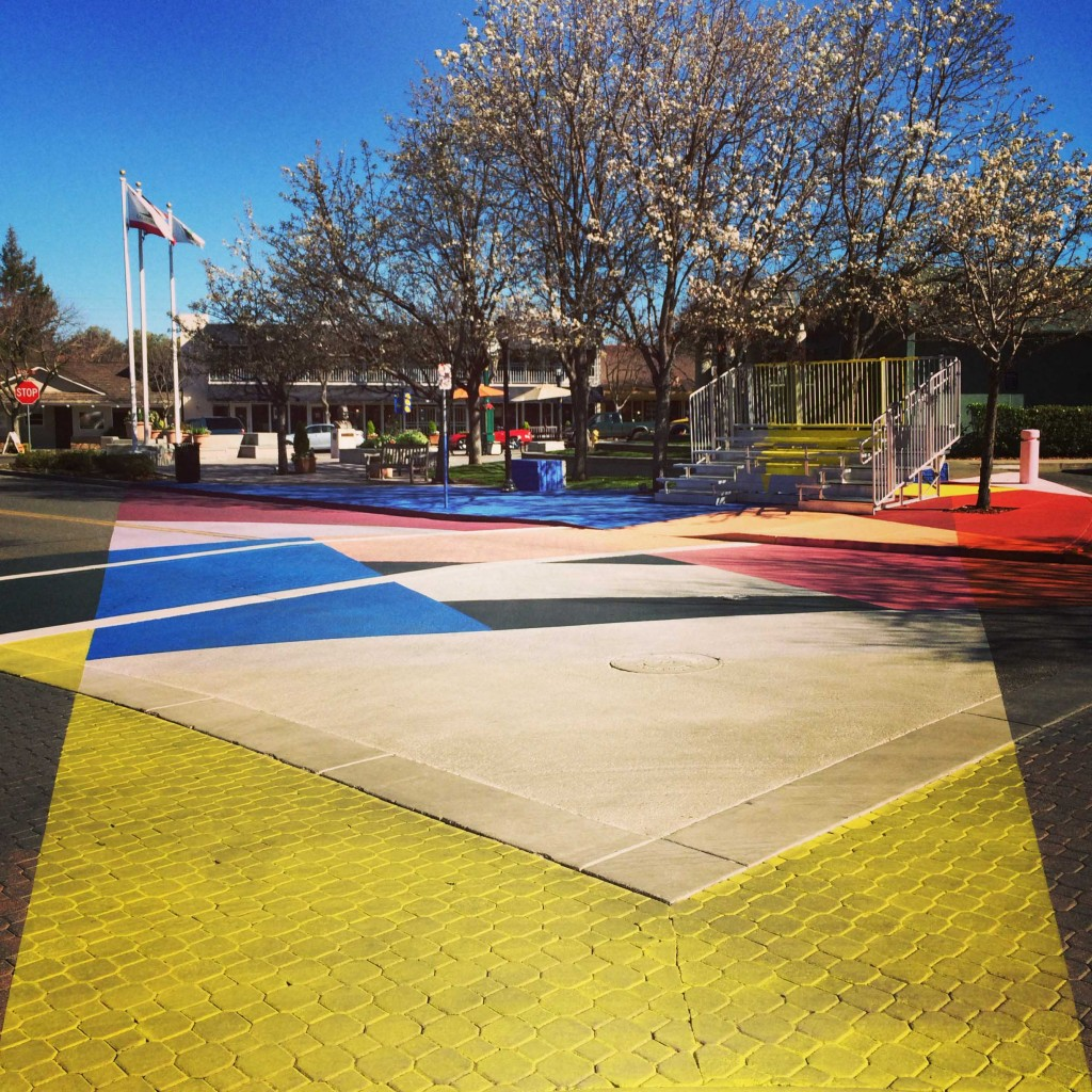 "Street View of Jessica Stockholder's ""Cross Hatch"" installation at the intersection of State and Fourth Streets in Los Altos, CA. Photo: Kelly Inouye"