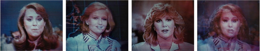 "Robert Heinecken, ""Untitled News Women (Jane Pauley, Diane Sawyer, Joan Lundun, Composite) Suite c #2,"" 1983. Courtesy of the artist and Marc Selwyn Fine Art, Santa Monica."