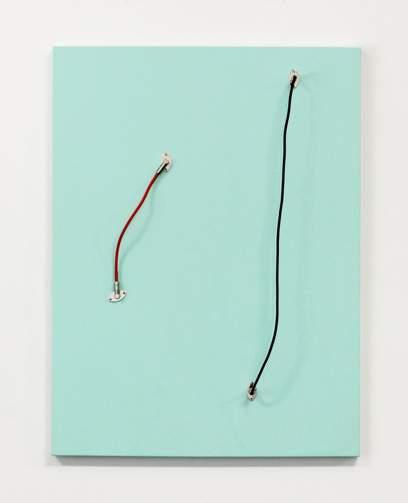 "Ben Barretto, ""Surf Green"" (2014), Automotive Urethane and Electric Guitar Hardware on Panel 40 x 30 in. image courtesy of the artist and Highlight Gallery."
