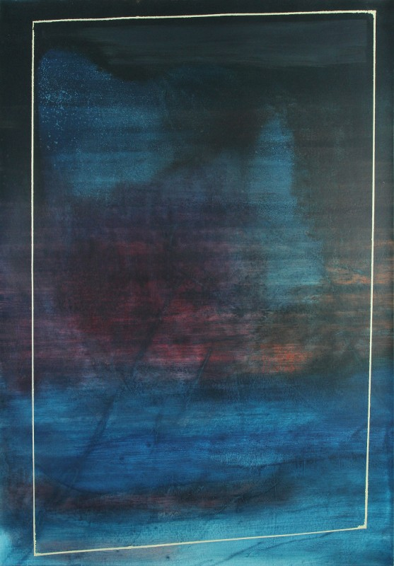 Miguel Arzabe, /* Reject Algorithms: indigo*/, 2013, oil on canvas, 54 x 38 in. Courtesy the Artist and CULT Exhibitions