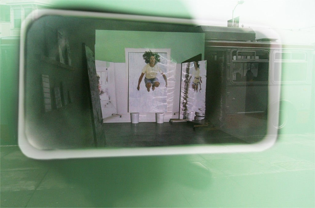 Exhibition view from the outside of the gallery through smartphone-shaped peephole. Courtesy the Artist and CULT Exhibitions