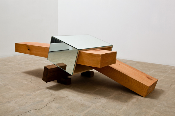 "Eduardo Consuegra, ""1+1=2,"" 2011. Plywood, wood, mirrors, 28 x 60 x 36 inches (71.1 x 152.4 x 91.4 cm), EC0211."