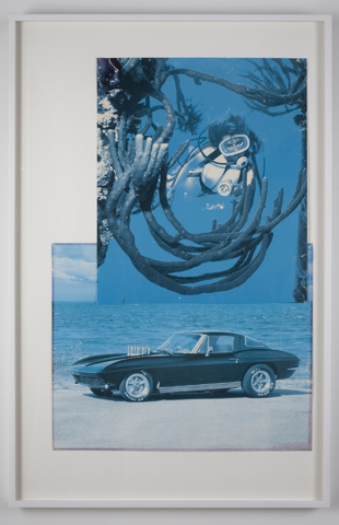 "Eduardo Consuegra, ""Untitled, (Cyan optative),"" 2008, sun faded posters, 30 x 19,75 inches."