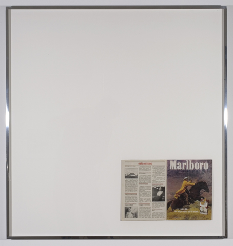 "Eduardo Consuegra, ""Untitled, (In Bond Marlboros),"" 2008, framed found magazine, 40 x 38 inches."