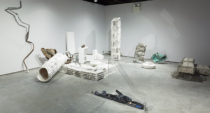 Installation view, Jumana Manna: Menace of Origins, SculptureCenter, 2014. Photo: Jason Mandella.