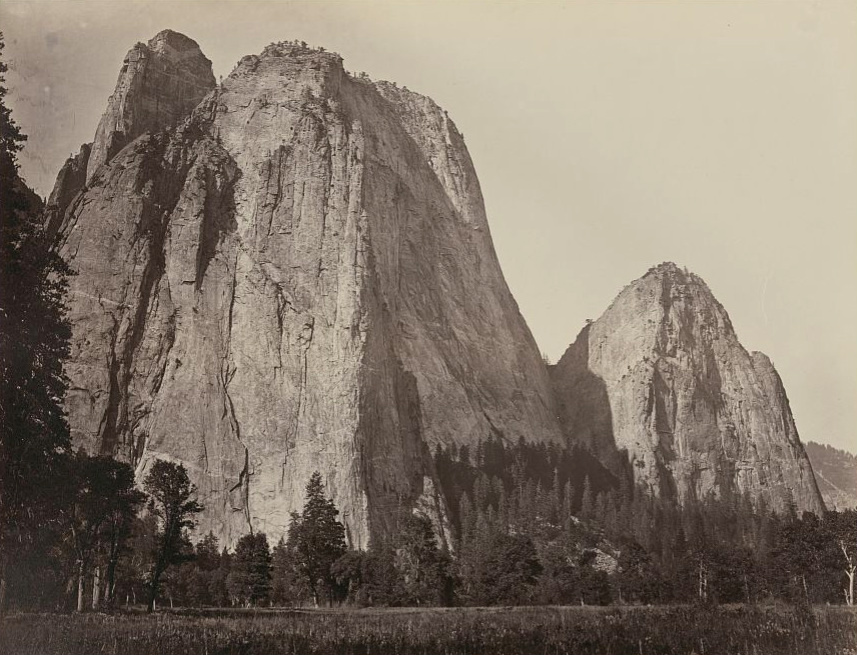 Carleton Watkins (U.S.A., 1829–1916), Cathedral Rocks, 2630 ft., Yosemite, 1865–1866, from the album Photographs of the Yosemite Valley. Albumen print. Cantor Arts Center at Stanford University, Lent by Department of Special Collections, Stanford University Libraries.