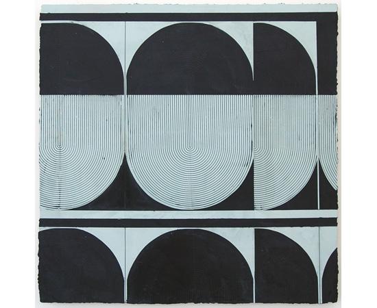 "ELISE FERGUSON, Bob O, pigmented plaster on MDF panel, 30"" x 30"", 2014. Courtesy of Romer Young Gallery."