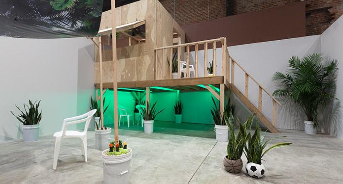 "Installation view, Radamés ""Juni"" Figueroa: NAGUABO RAINBOW, DAGUAO ENCHUMBAO, FANGO FIREFLIES, SculptureCenter, 2014. Photo: Jason Mandella."