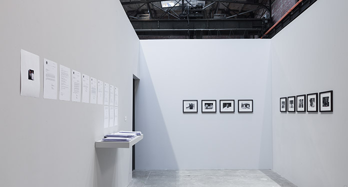 Installation view, Rossella Biscotti: The Undercover Man, SculptureCenter, 2014. Photo: Jason Mandella.