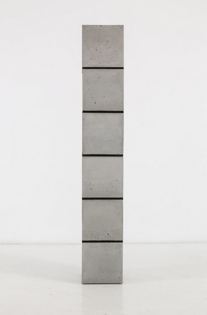 "Bhakti Baxter, ""Rubber Spine,"" 2014, Concrete, rubber. 75.25 x 12 x 12 in. Courtesy of the artist and Gallery Diet."
