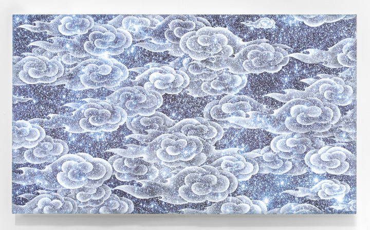 "Ala Ebtekar, ""Zenith,"" 2014. Acrylic on archival pigment print on canvas, 42"" x 74"". Courtesy of Gallery Paule Anglim."