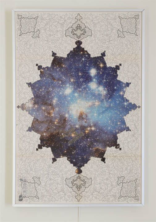 "Ala Ebtekar, ""Fantastic Voyage,"" 2014. Acrylic on archival pigment print on found poster, light box, 41 1/2"" h x 27 1/2"" w x 2 3/4"" d (light box off). Courtesy of Gallery Paule Anglim."