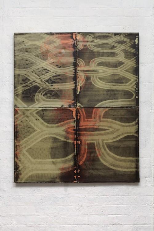 Ruairiadh O'Connell, The Venetian, Silkscreen on wax in welded steel tray, 47 x 39 inches.