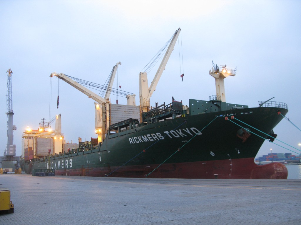The Rickmers Tokyo. Boosting a deck 700 foot by 60 foot, with a cargo capacity of 30,000 tons. She and crew complete a full lap around the globe every 9 months.