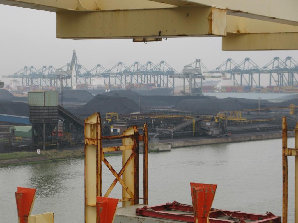 Land! The beautiful coal fields of the famed Antwerp docks.