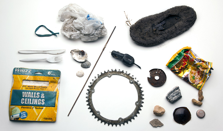 A selection of item's from Amy Balkin's A People's Archive of Sinking and Melting, a collection of objects from places expected to disappear as a result of climate change