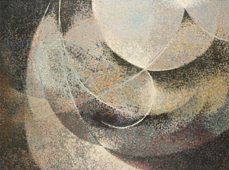 """Jack Wright, """"Cloud Chamber,"""" 1952. Oil on canvas, 42 3/8 in. x 57 1/4 in. Courtesy of Krowswork."""