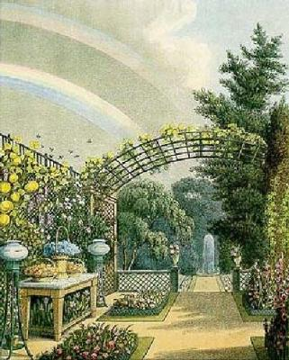 An illustration of an English garden. Notice the invisible green.