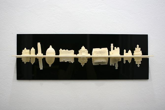 "Liene Bosque, ""Ricordo,"" cast plastic and acrylic, 24 x 3 x 4, 2013. Courtesy of William Holman Gallery."